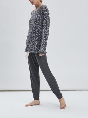 Ensemble pyjama 2 pieces gris fonce femme