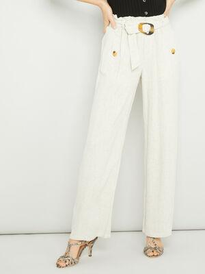 Pantalon droit fluide ceinture beige femme