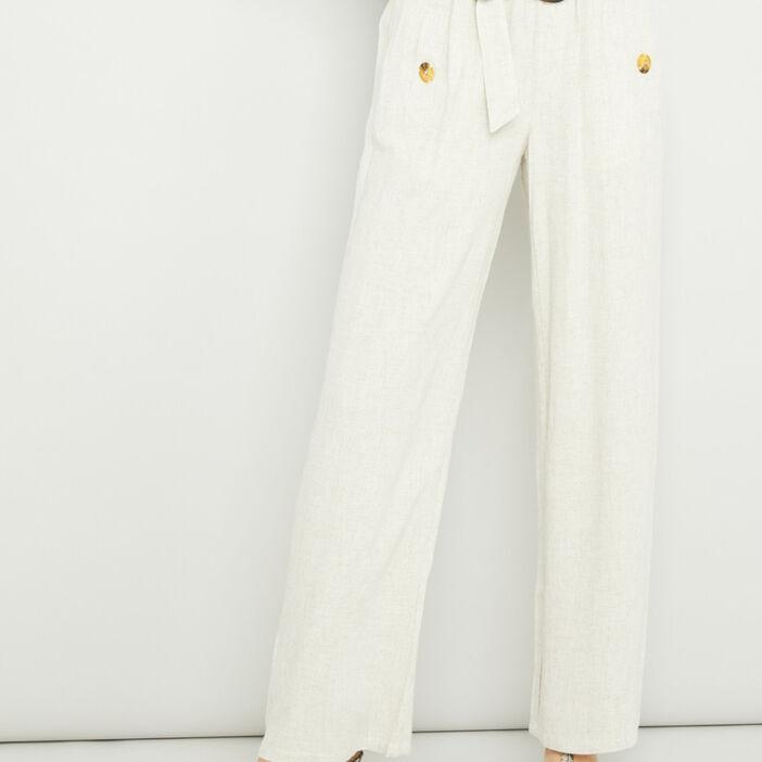 Pantalon droit fluide ceinturé femme beige