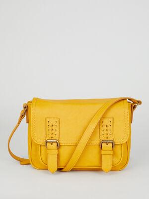 Sac bandouliere avec boucles metalliques jaune moutarde femme