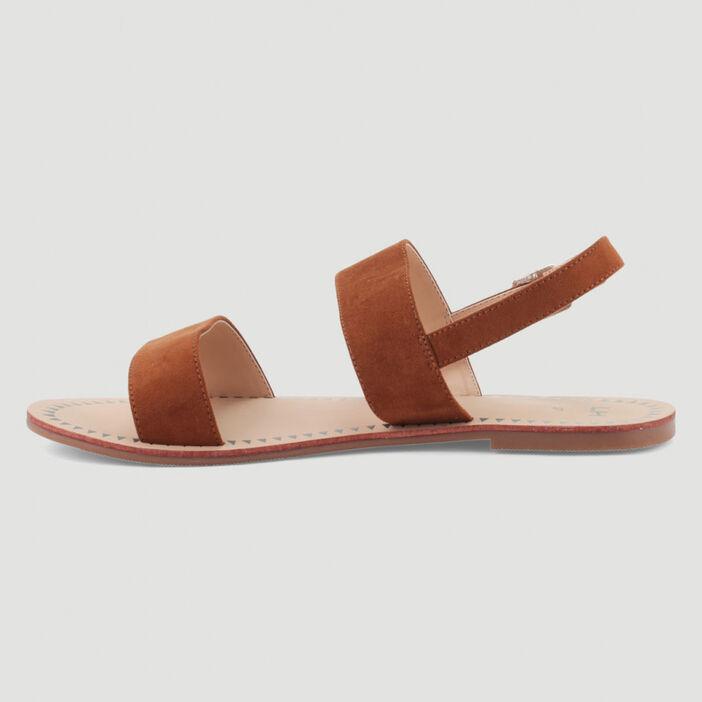 Sandales plates à double bride femme marron