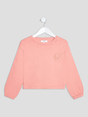 Pull manches longues rose corail fille