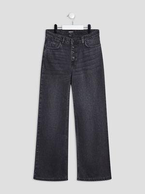 Jeans large boutonne denim gris fille