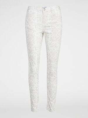 Pantalon a motifs coupe skinny beige femme