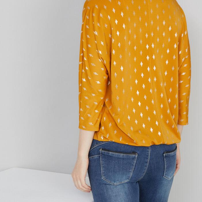 T-shirt col tunisien losanges irisés femme jaune moutarde