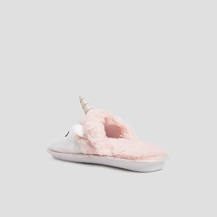 Chaussons mules fantaisie femme rose