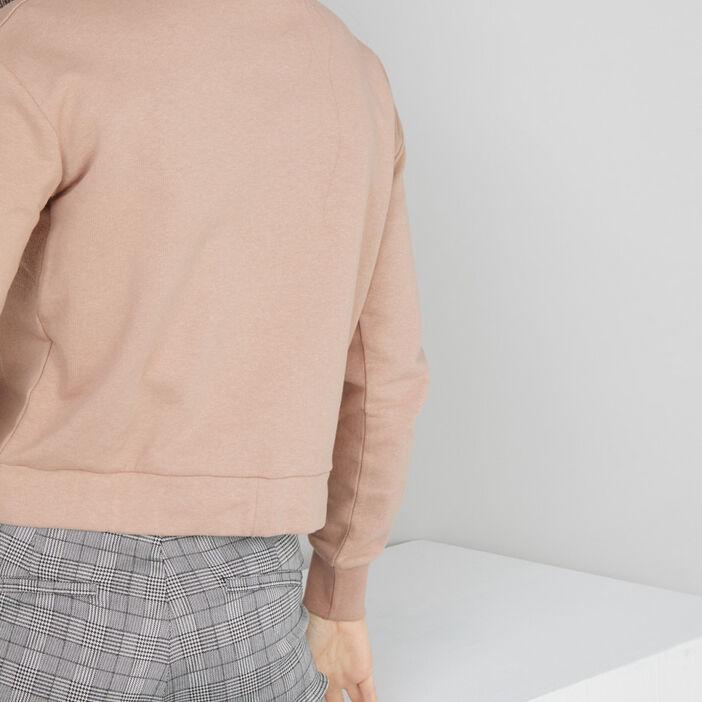 Sweat à message en coton femme rose