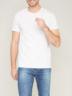 T shirt col rond uni ecru homme