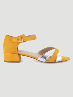 Sandales bicolores a talon carre jaune femme
