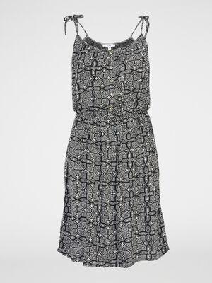 Robe evasee imprime fleuri fines bretell gris fonce femme