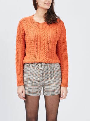 Pull manches longues ajoure orange femme