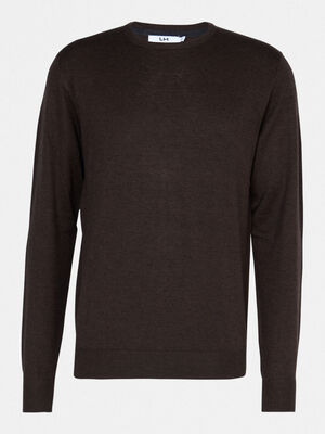 Pull uni col rond marron clair homme
