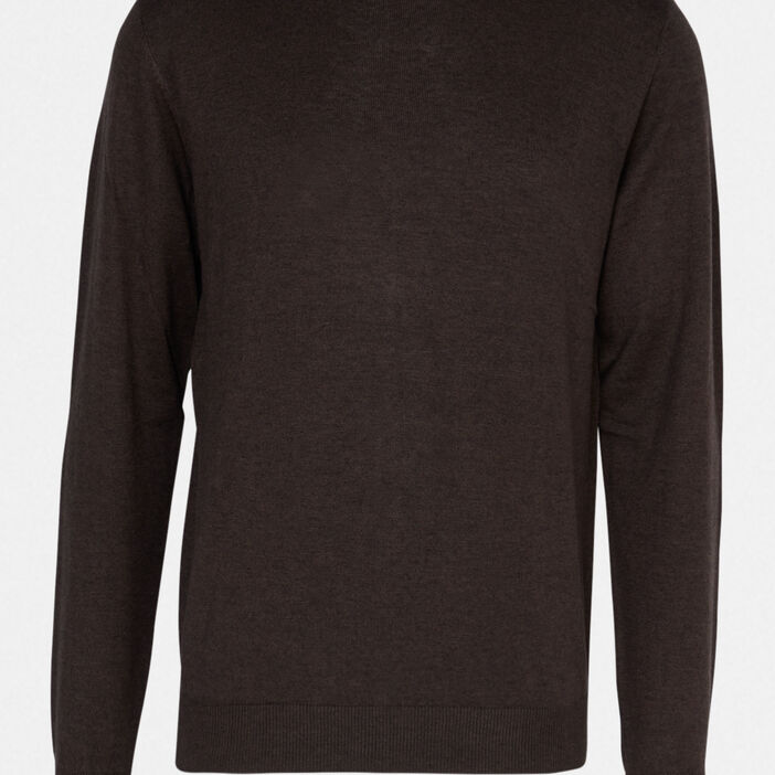 Pull uni col rond homme marron clair