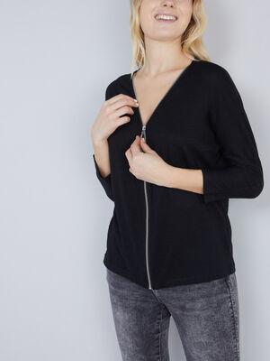 Gilet zippe avec dentelle dos noir femme