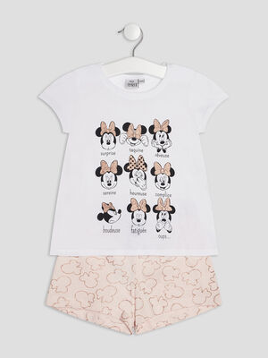 Ensemble pyjama Minnie ecru fille