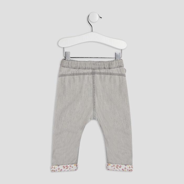 Jeans droit élastiqué bébé fille gris