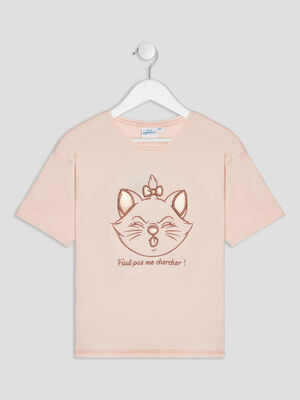 T shirt Les Aristochats rose poudree fille