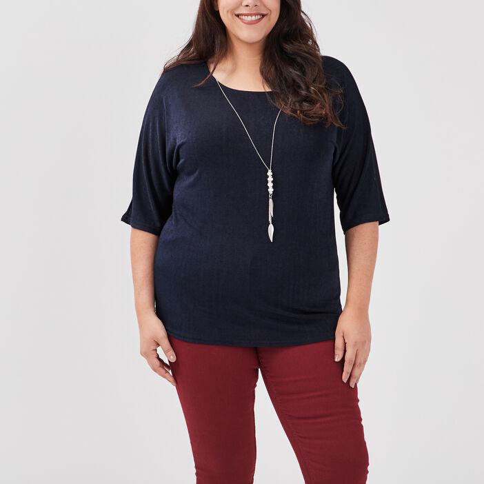T-shirt grande taille femme grande taille bleu marine