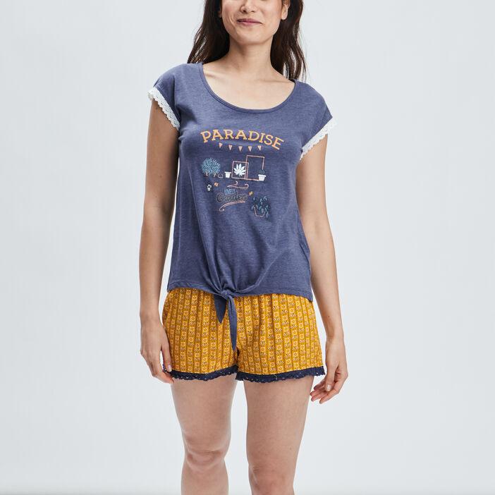 Ensemble pyjama 2 pièces femme bleu