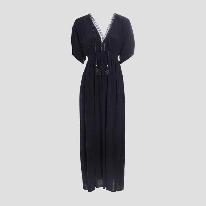 Robe longue évasée femme noir