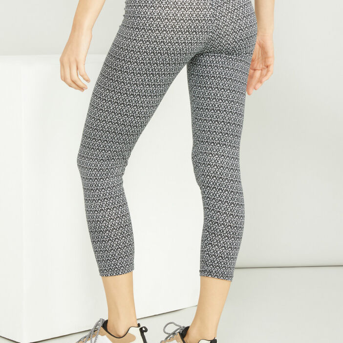Legging court imprimé femme gris
