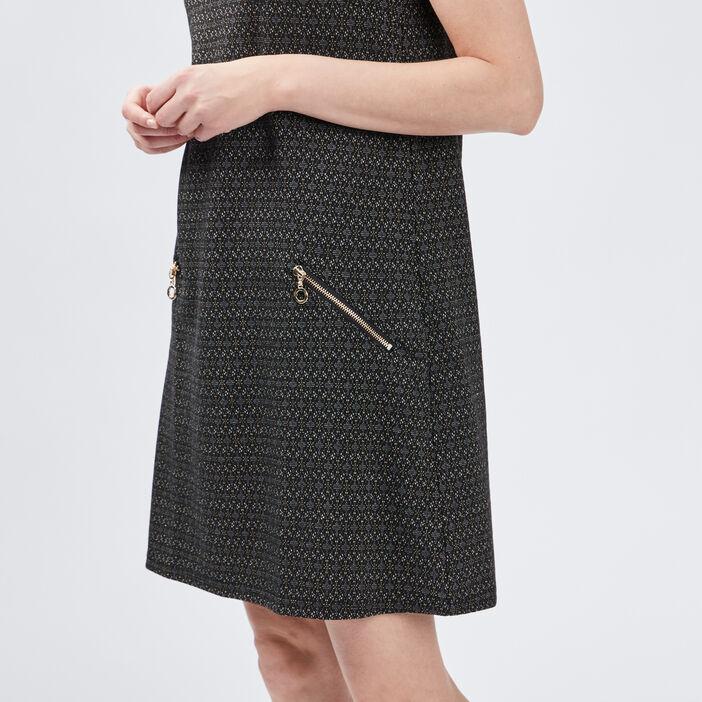 Robe évasée à détails zippés femme noir