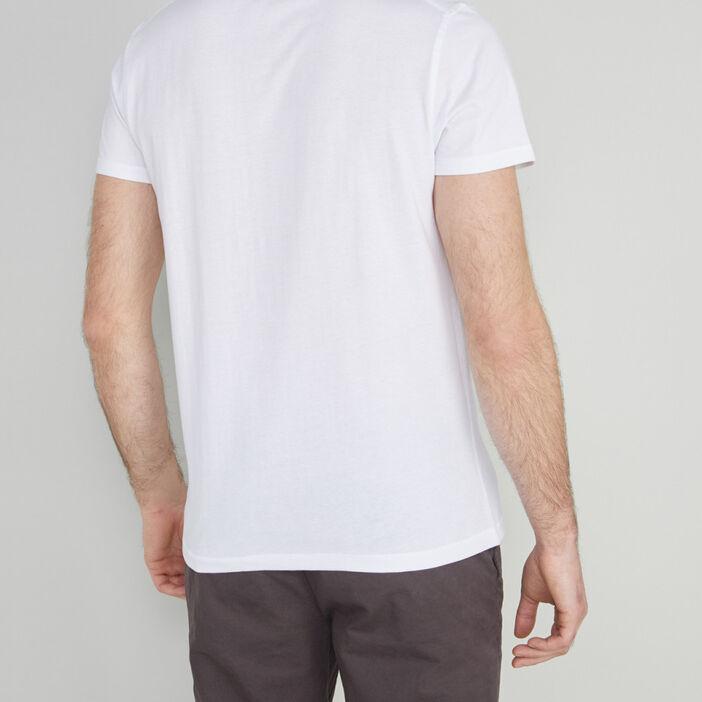 T-shirt col tunisien uni homme blanc