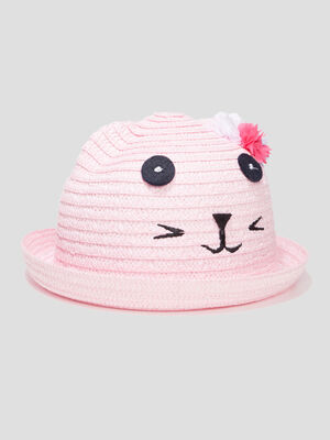Chapeau tresse rose fille