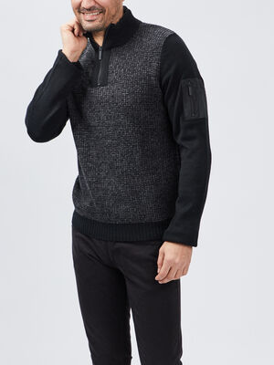 Pull a col montant zippe noir homme