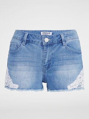 Short en jean avec broderies denim double stone femme