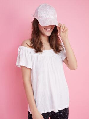 Casquette imprime feuilles coton rose femme