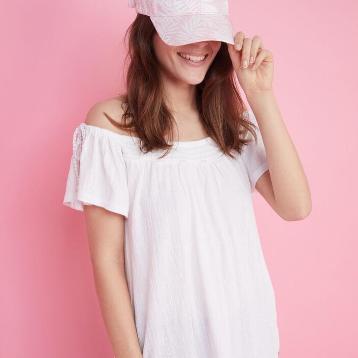 Casquette imprimé feuilles coton femme rose