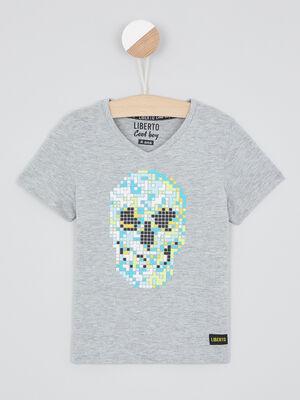 T shirt col V imprime pixellise gris garcon