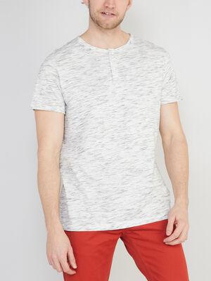 T shirt chine col rond boutonne ecru homme