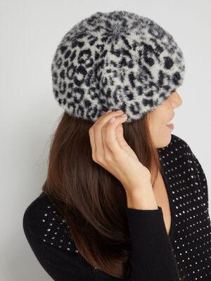 Beret maille duveteuse leopard gris femme