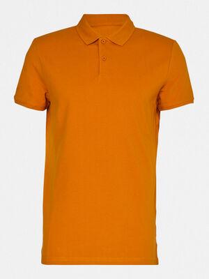 Polo manches courtes uni jaune moutarde homme