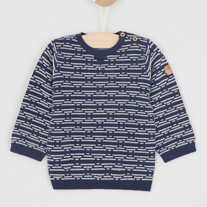 Pull boutonné à motifs géométriques bébé garçon bleu marine