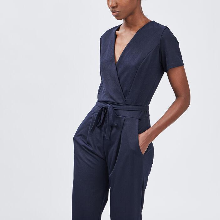 Pantalon paperbag 7/8ème femme bleu marine