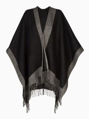 Poncho bicolore a franges noir mixte