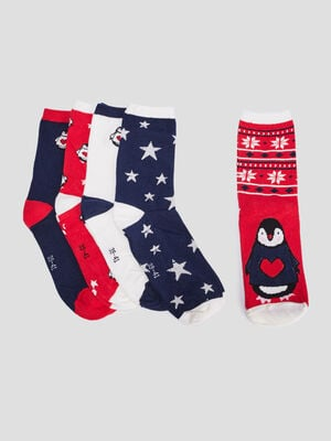 Lot 5 paires chaussettes rouge femme