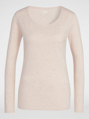 T shirt uni a col rond rose clair femme