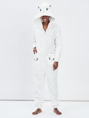 Combinaison de pyjama ecru femme