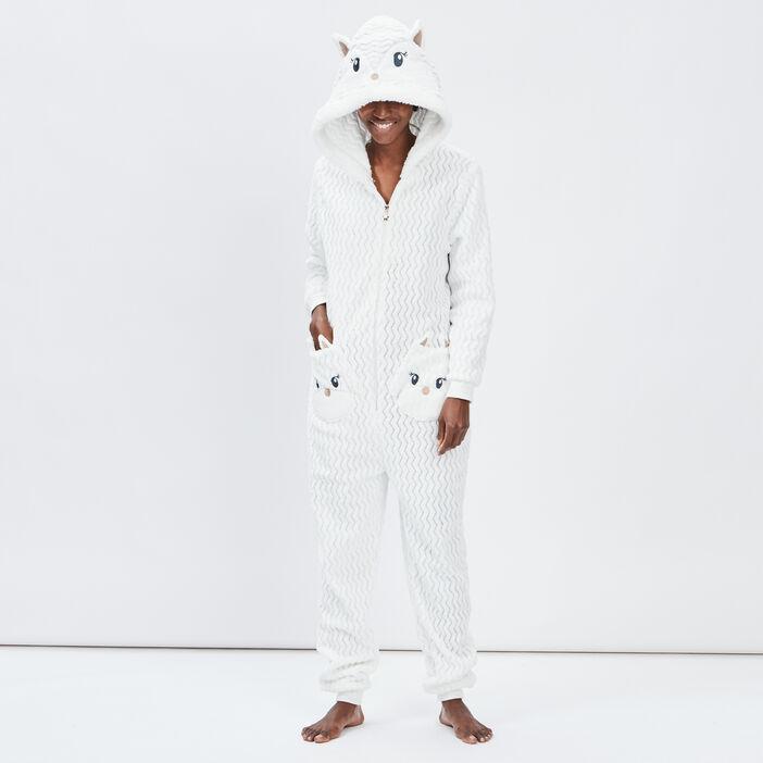 Combinaison de pyjama femme ecru