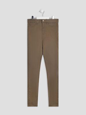 Pantalon skinny taille haute vert kaki fille