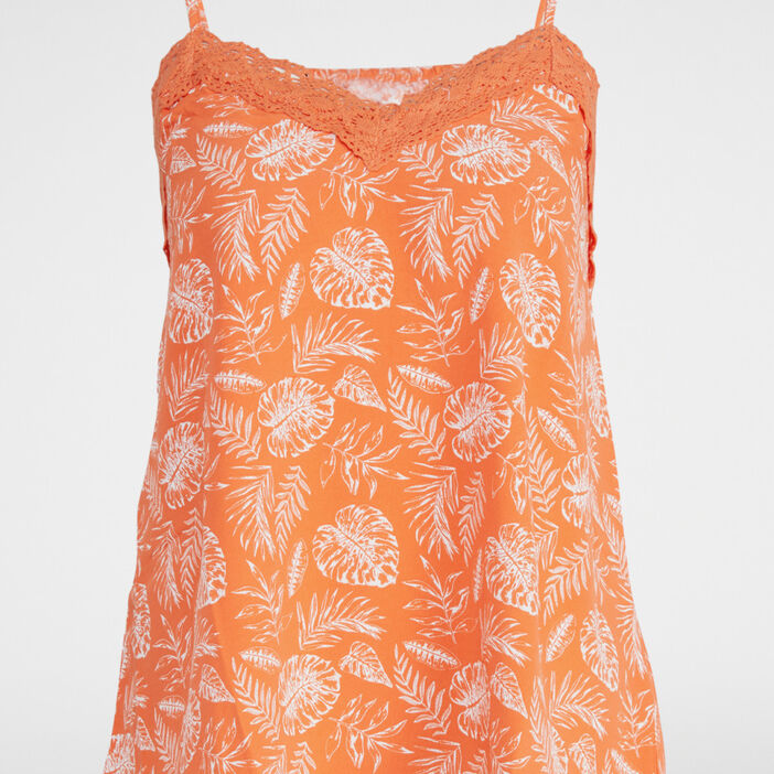 Top à fines bretelles imprimé femme orange corail