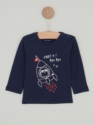 T shirt imprime place devant bleu marine garcon