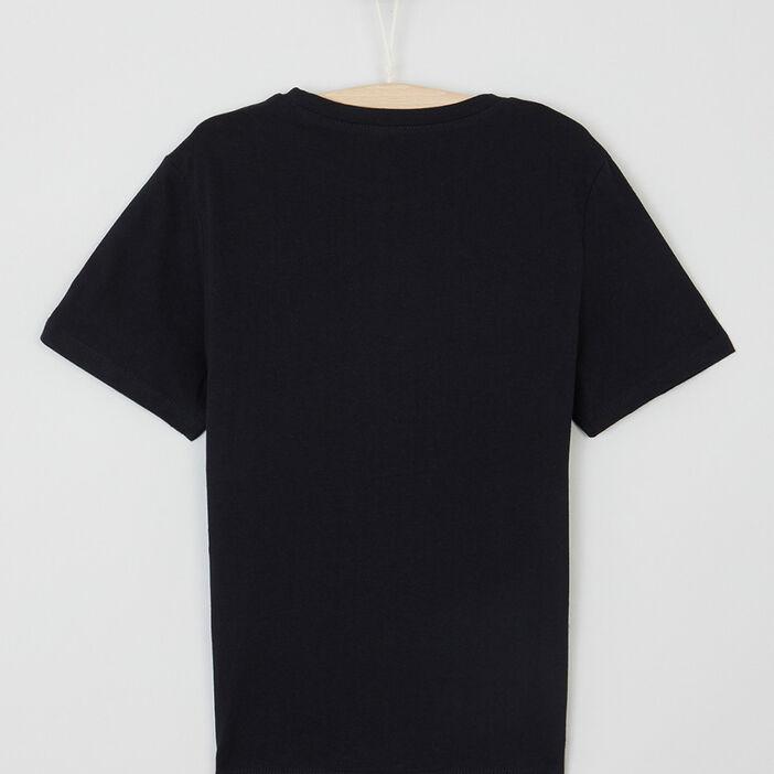 T-shirt uni message devant garçon noir