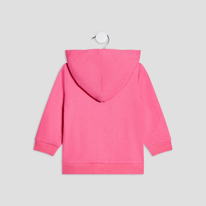 Gilet zippé à capuche bébé fille rose fushia