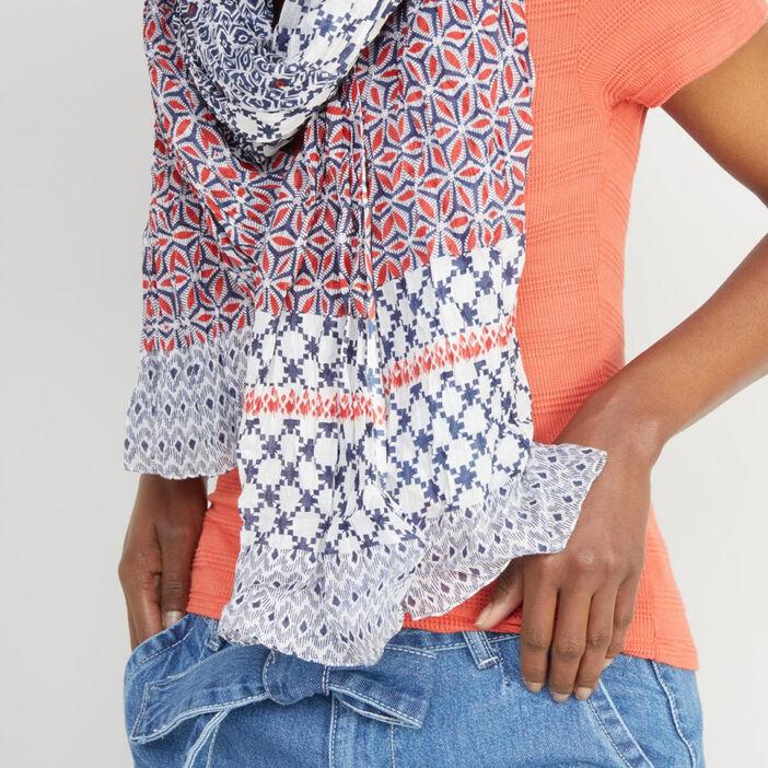 Foulard en coton imprimé femme multicolore