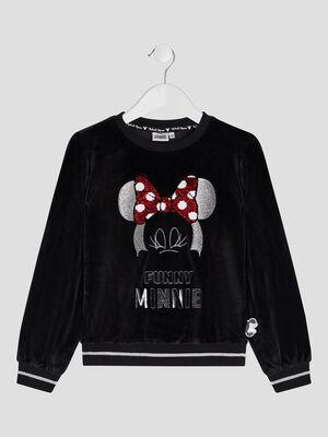 Sweat manches longues Minnie noir fille